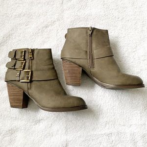 Mossimo Size 7 Green Zip-Up Ankle Boots w/Heel